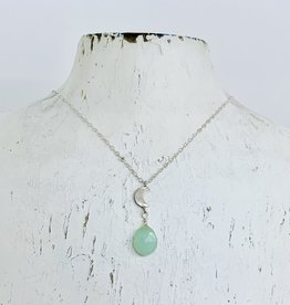 Locally Handmade Chalcedony Gemstone with Silver Crescent Moon Charm Necklace