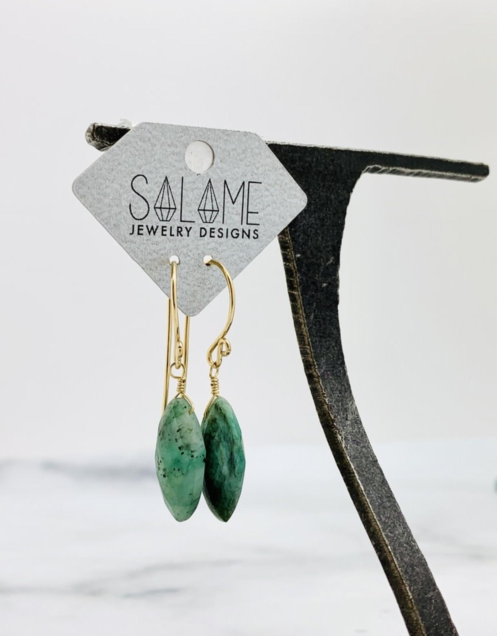 Locally Handmade Emerald Gemstone with 14k Goldfill Drop Earrings