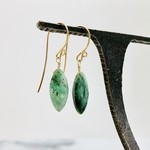 Locally Handmade Emerald Gemstone with 14k Goldfill Drop Earrings