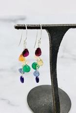 Handmade Sterling Silver Earrings with Rainbow Cascade