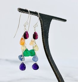 Handmade Sterling Silver Earrings with Rainbow Cascade