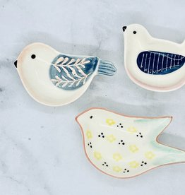 Hand-Painted Stoneware Bird Shaped Dish: