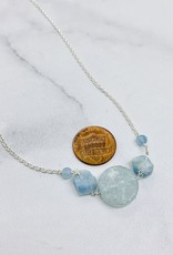 Handmade Necklace with graduated aquamarine, raw coin in center