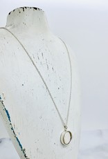 Handmade Necklace with size 6 hammered ring, coin pearl
