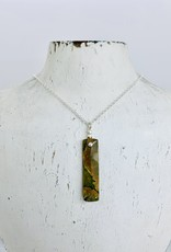Handmade Necklace with rainforest rhyolite jasper, 2 faceted silver