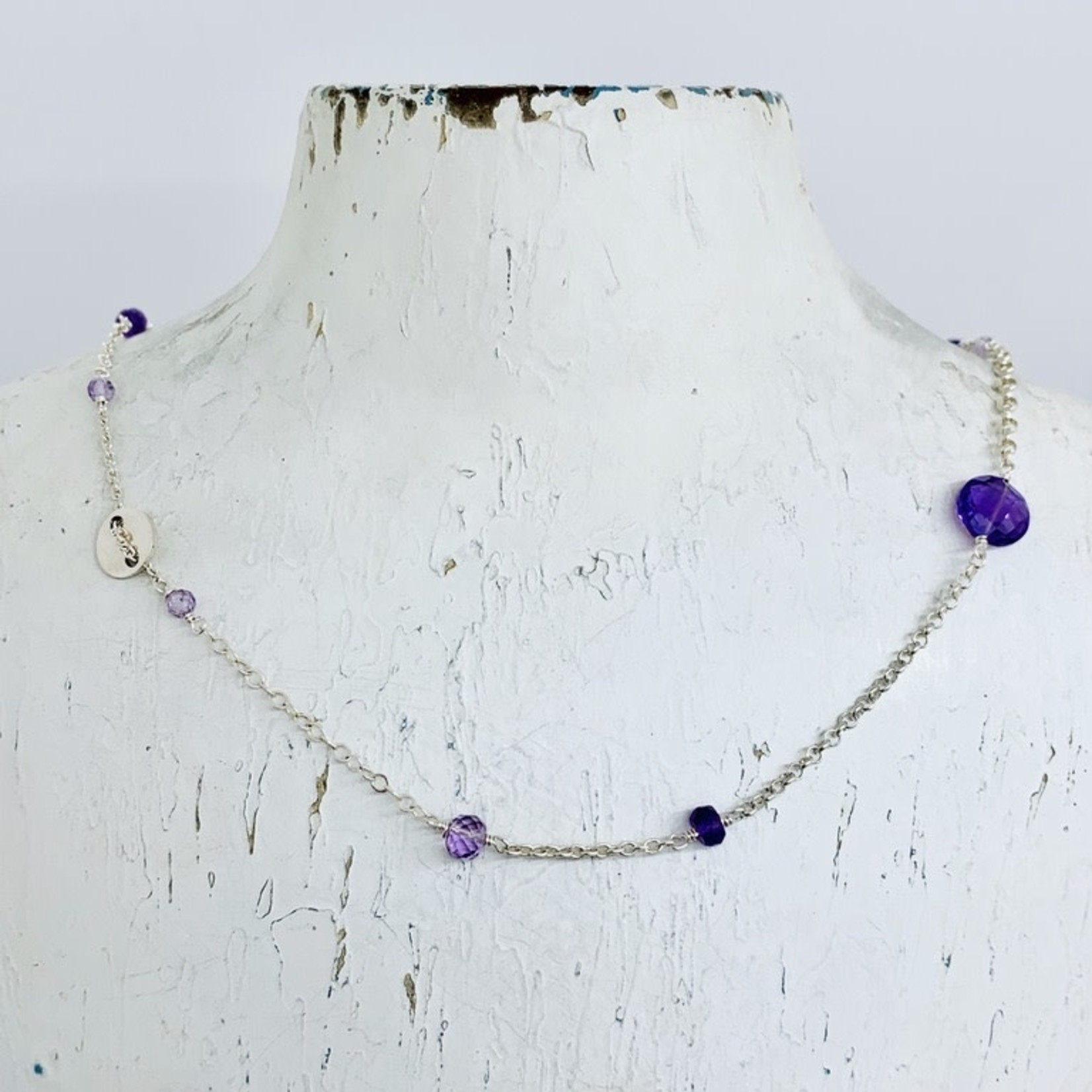 Handmade Necklace with misc chain, mixed amethyst