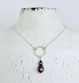 Handmade Necklace with pinkish peacock teardrop pearl, pave diamond, ruby