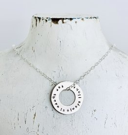 "Handmade Necklace with washer ""for there is always light"" Amanda Gorman"