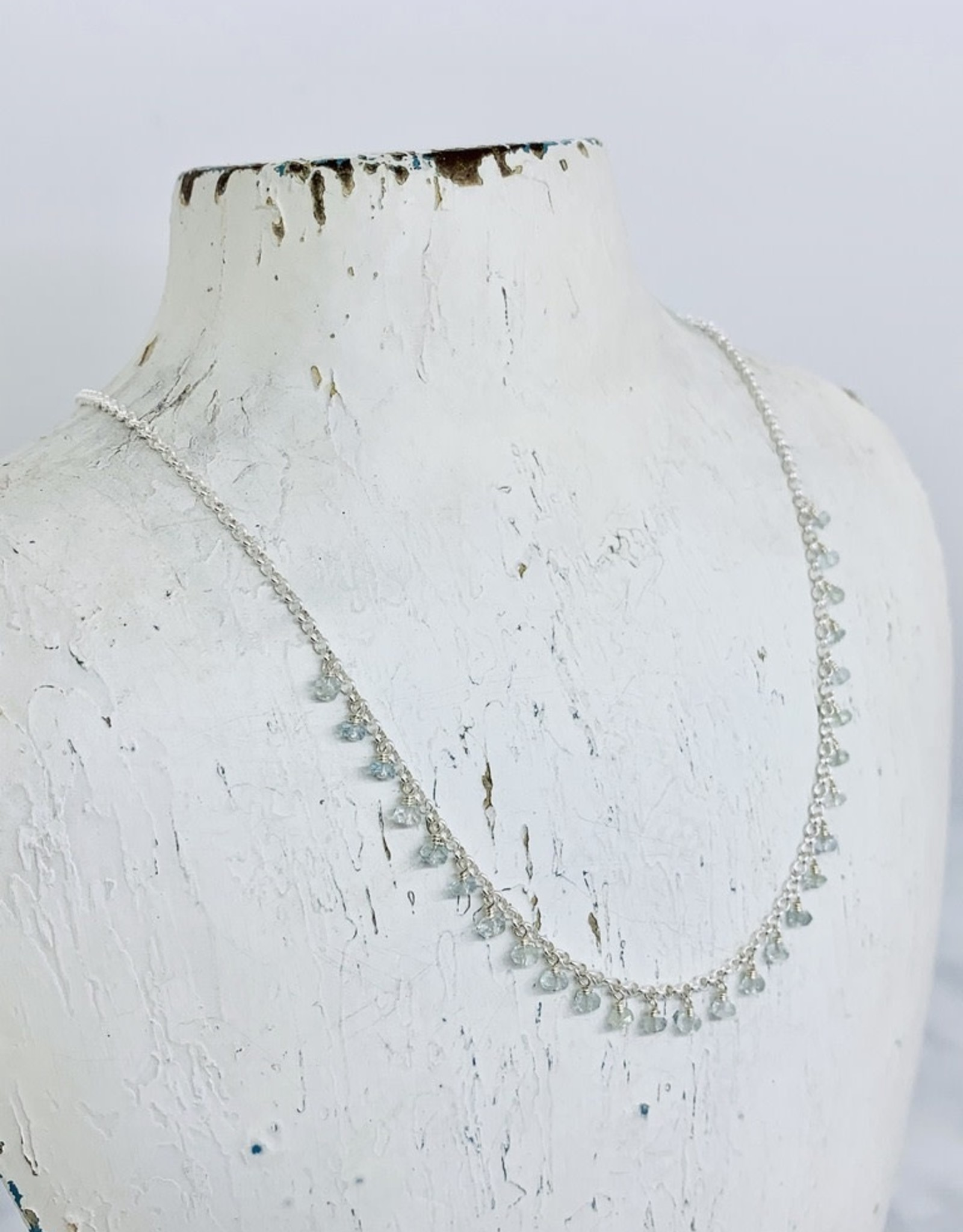 Handmade Necklace with tiny aquamarine dangle across
