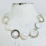 Handmade Necklace with 4 double circles connected, double chain, 3 coin pearls