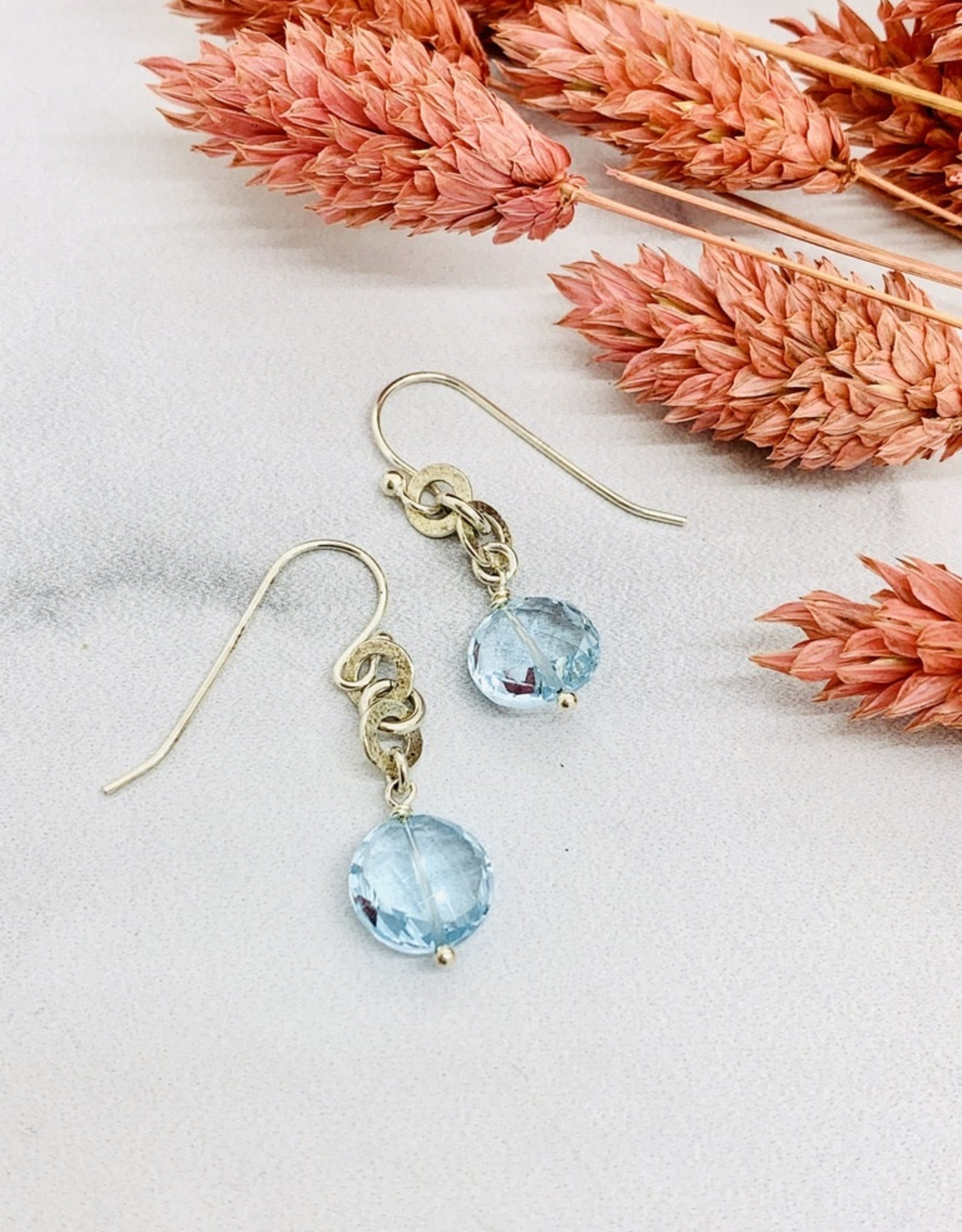 Handmade sky blue topaz coin 2 hammered rings Earrings