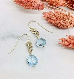 Handmade sky blue topaz coin 2 hammered rings Earrings