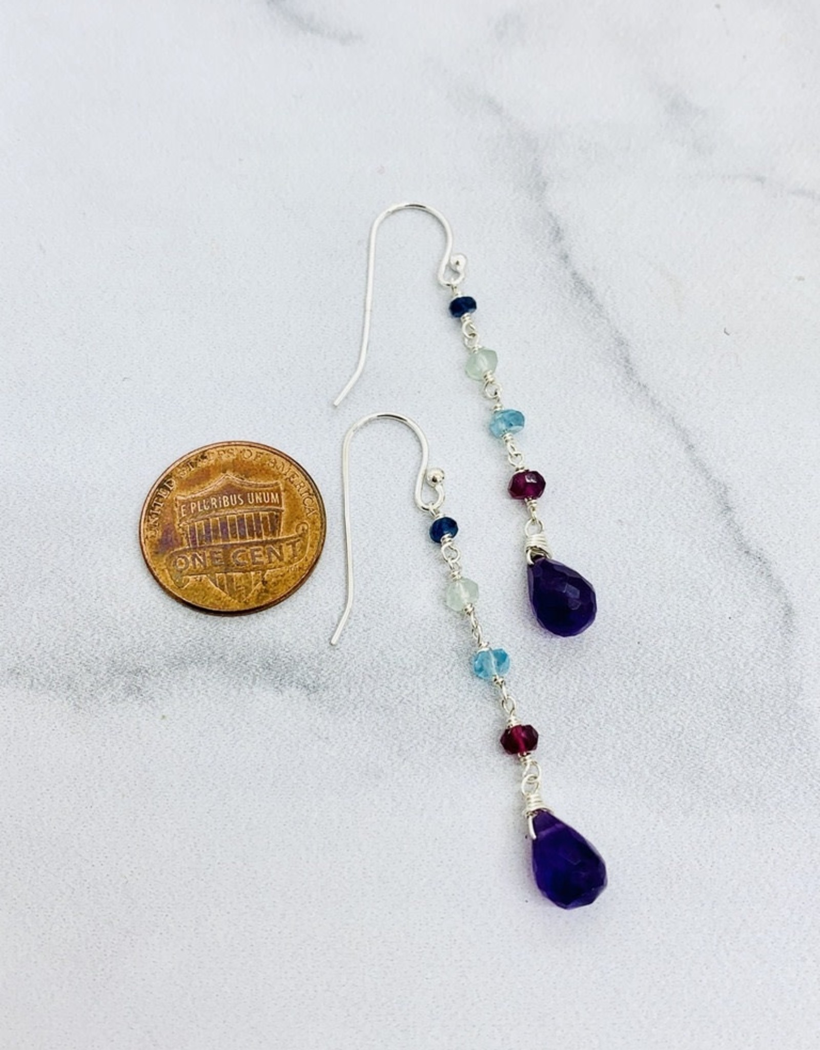 Handmade dangle amethyst briolette, rhodolite garnet, apatite, prehnite, blue sapphire Earrings