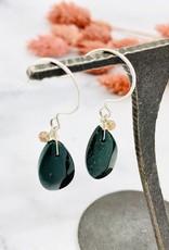 Handmade bloodstone briolette, single andalusite Earrings