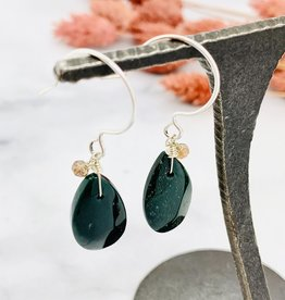 Handmade bloodstone briolette, single andalusite Earrings