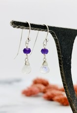 Handmade rainbow moonstone briolette, amethyst Earrings