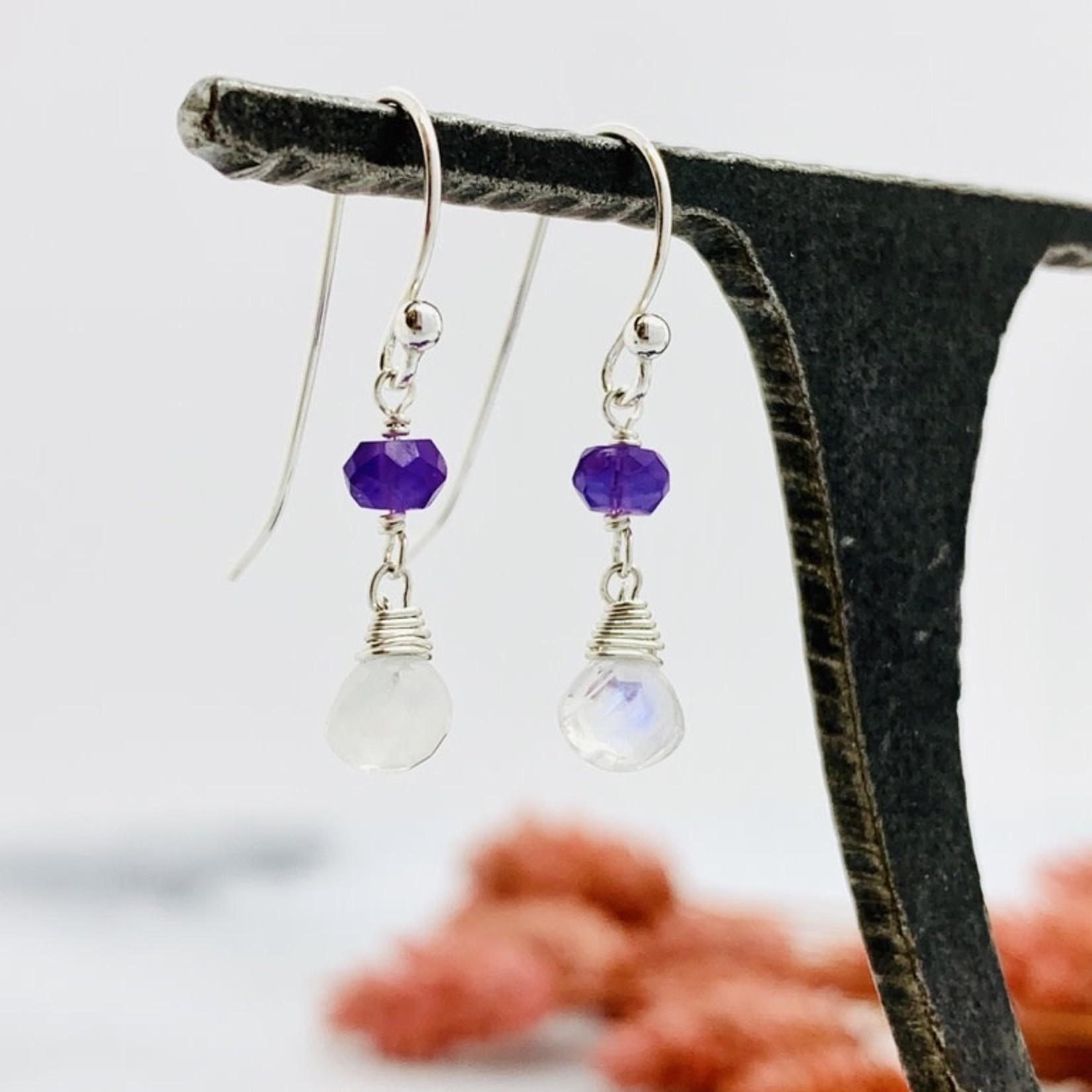 Handmade rainbow moonstone briolette, amethyst Earrings