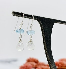 Handmade rainbow moonstone briolette, blue topaz Earrings