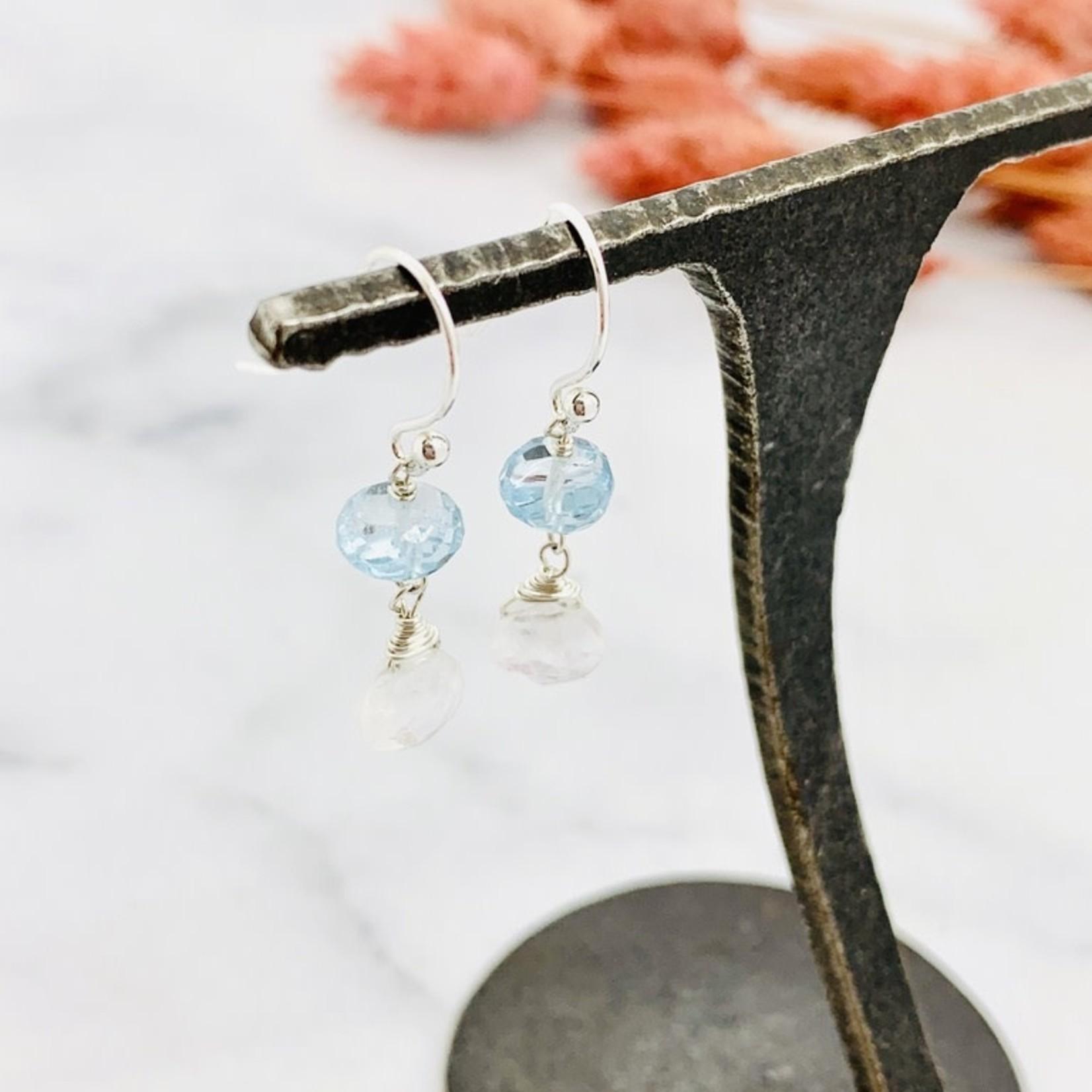 Handmade rainbow moonstone briolette, blue topaz Earrings