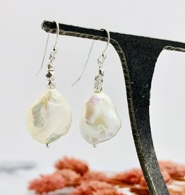 Handmade baroque pearl, stack 3 faceted silver Earrings