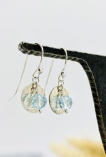 Handmade blue topaz disco ball, hammered disc Earrings