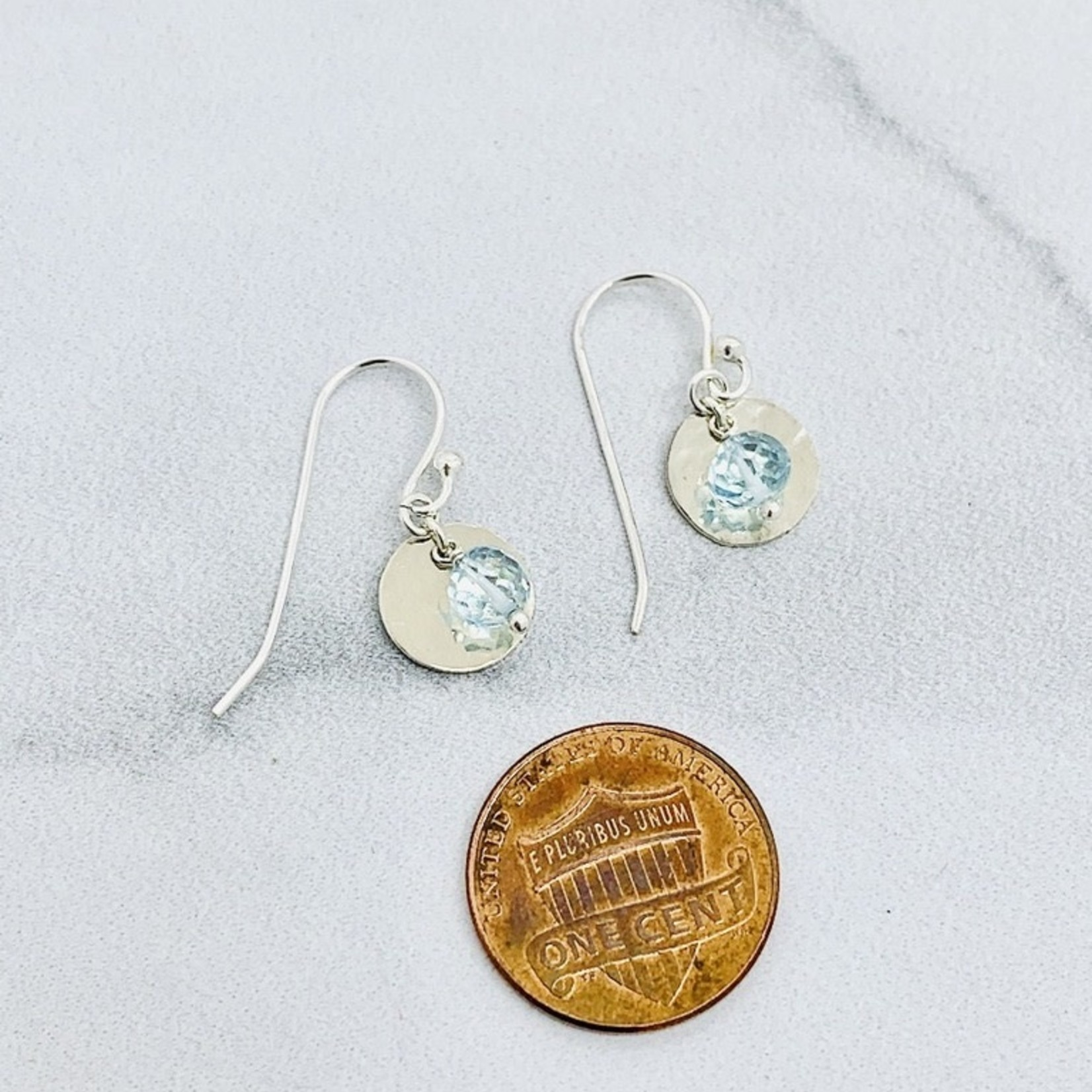 Handmade blue topaz disco ball, hammered disc Earrings