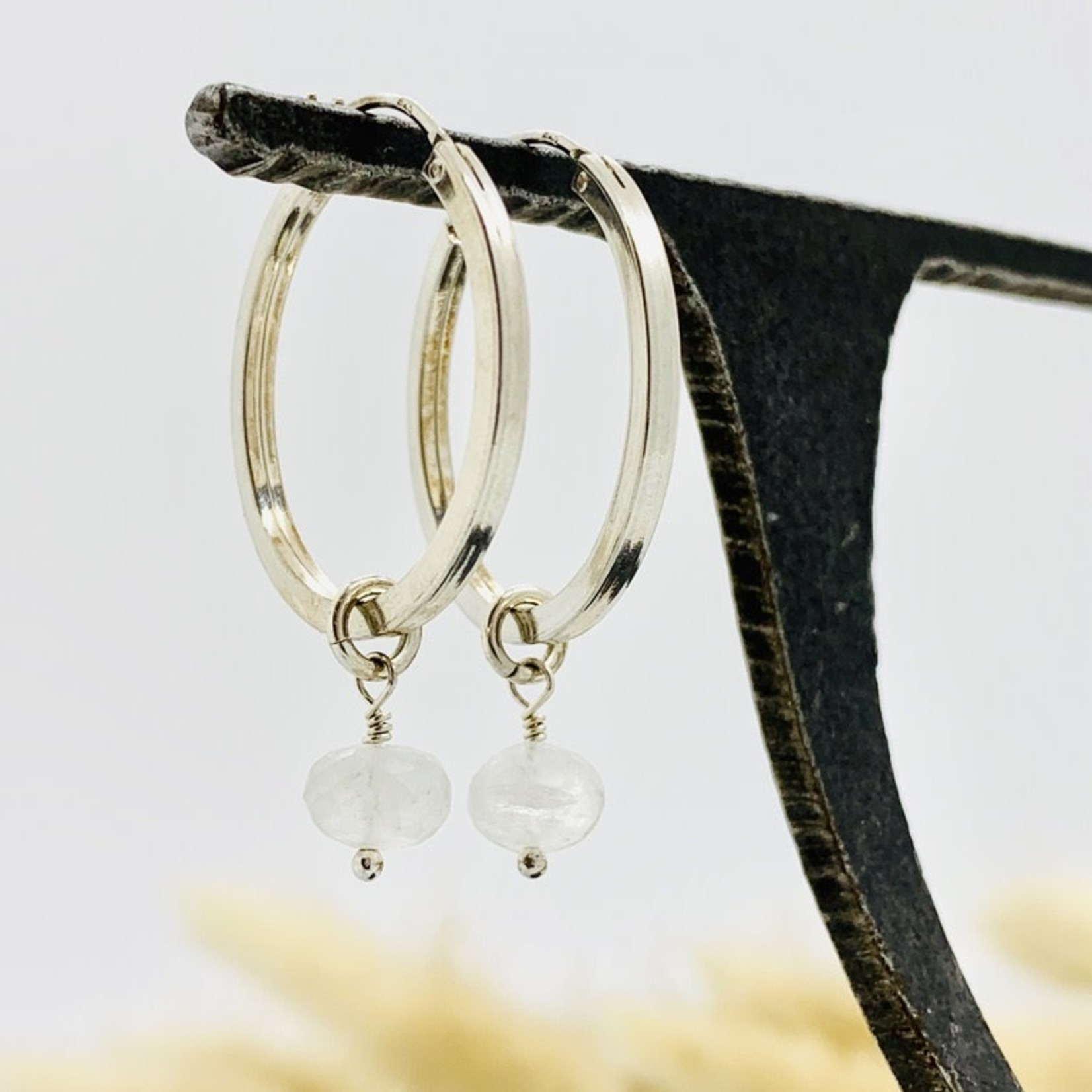 Handmade larger hoop, rainbow moonstone Earrings
