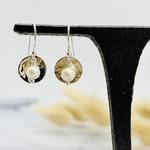 Handmade hammered disc, pearl Earrings