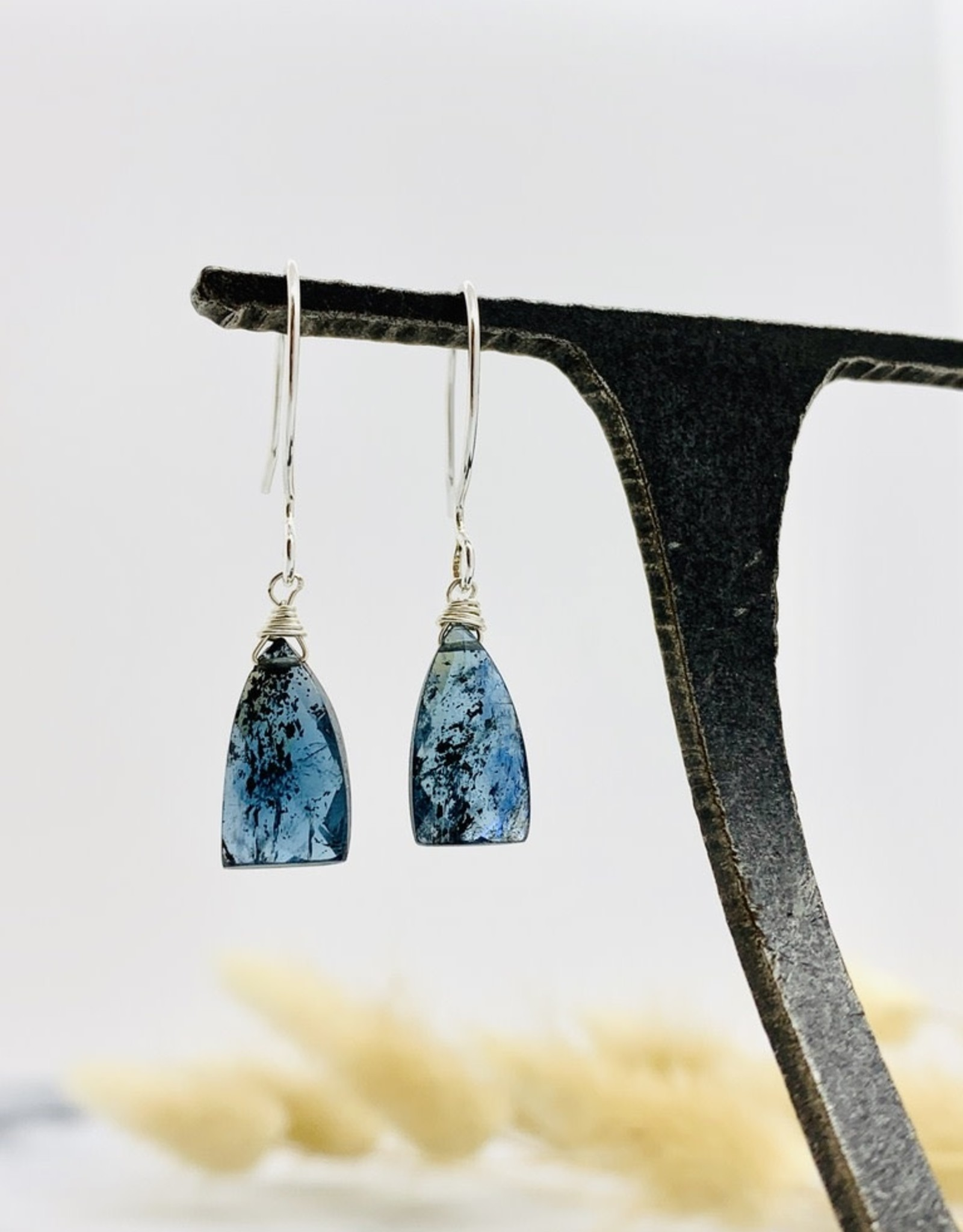 Handmade moss kyanite briolette Earrings