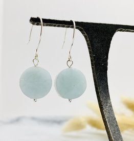 Handmade aquamarine coin Earrings
