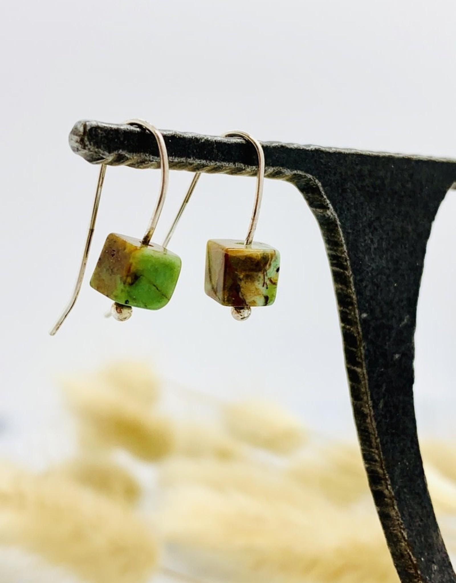 Handmade chrysocolla cube Earrings