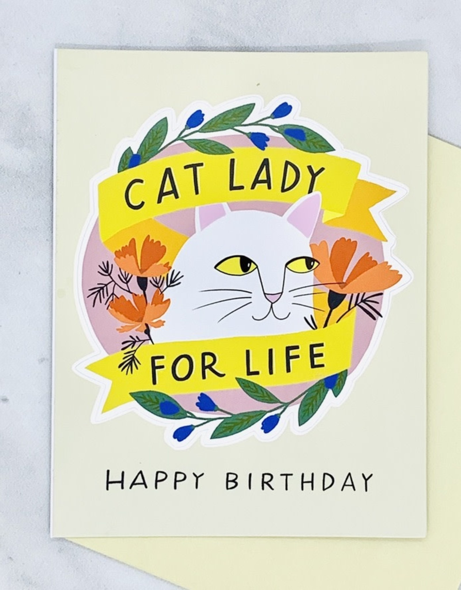 Cat Lady for Life Sticker Birthday Card