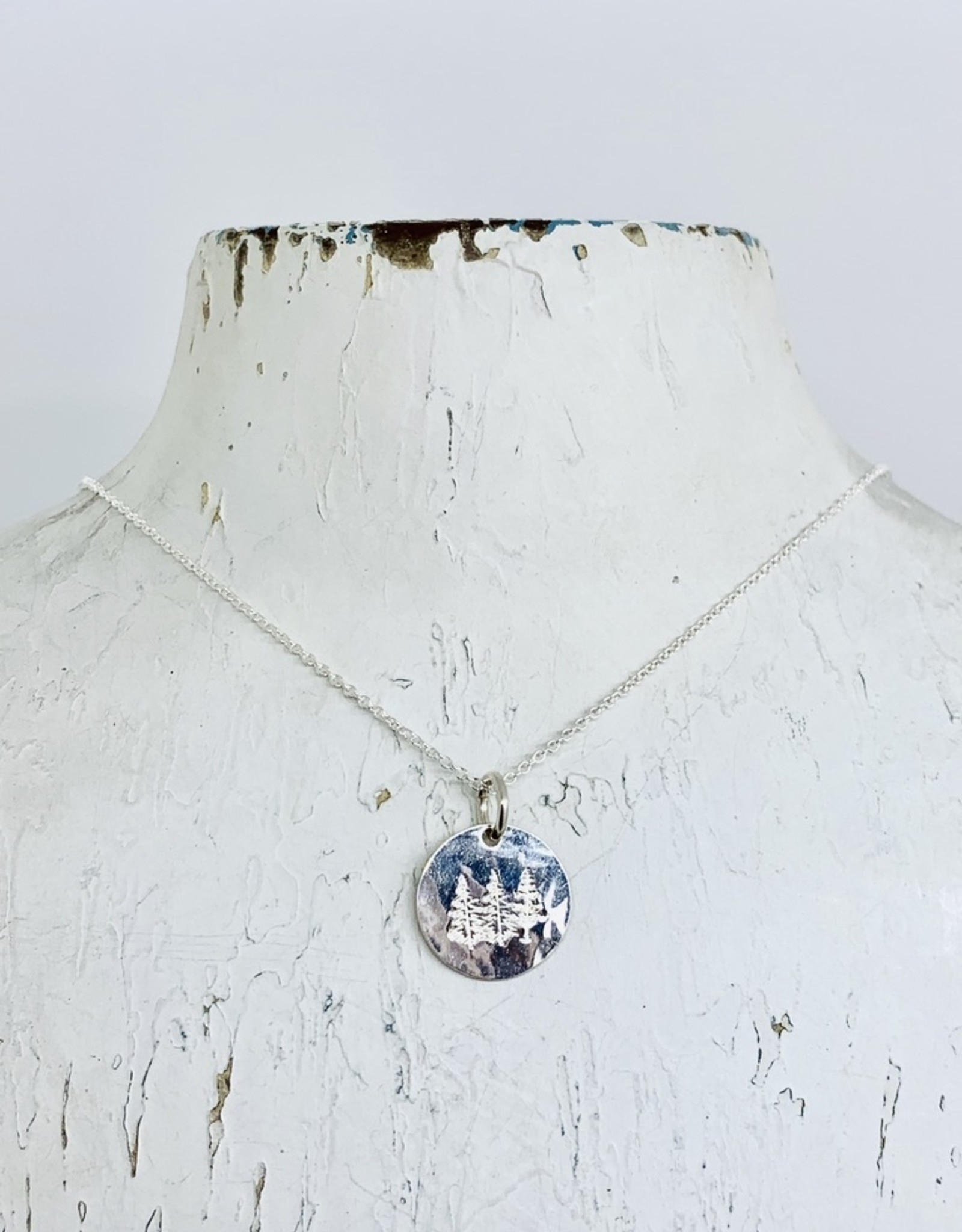 Becoming Jewelry Trees Round Charm Necklace, Silver