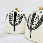 "4-1/4"" Round x 3-3/4""H Stoneware Sugar Bowl w/ Lid, Pattern & Gold Electroplating, Black & White"