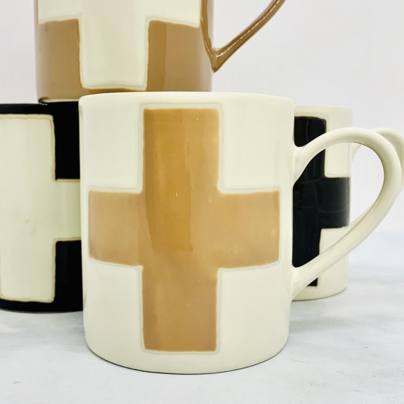 8 oz. Handmade Stoneware Mug w/ Wax Relief Swiss Cross: