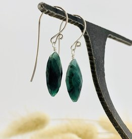 Locally Handmade Gemstone Drop Earrings Sterling Silver Emerald