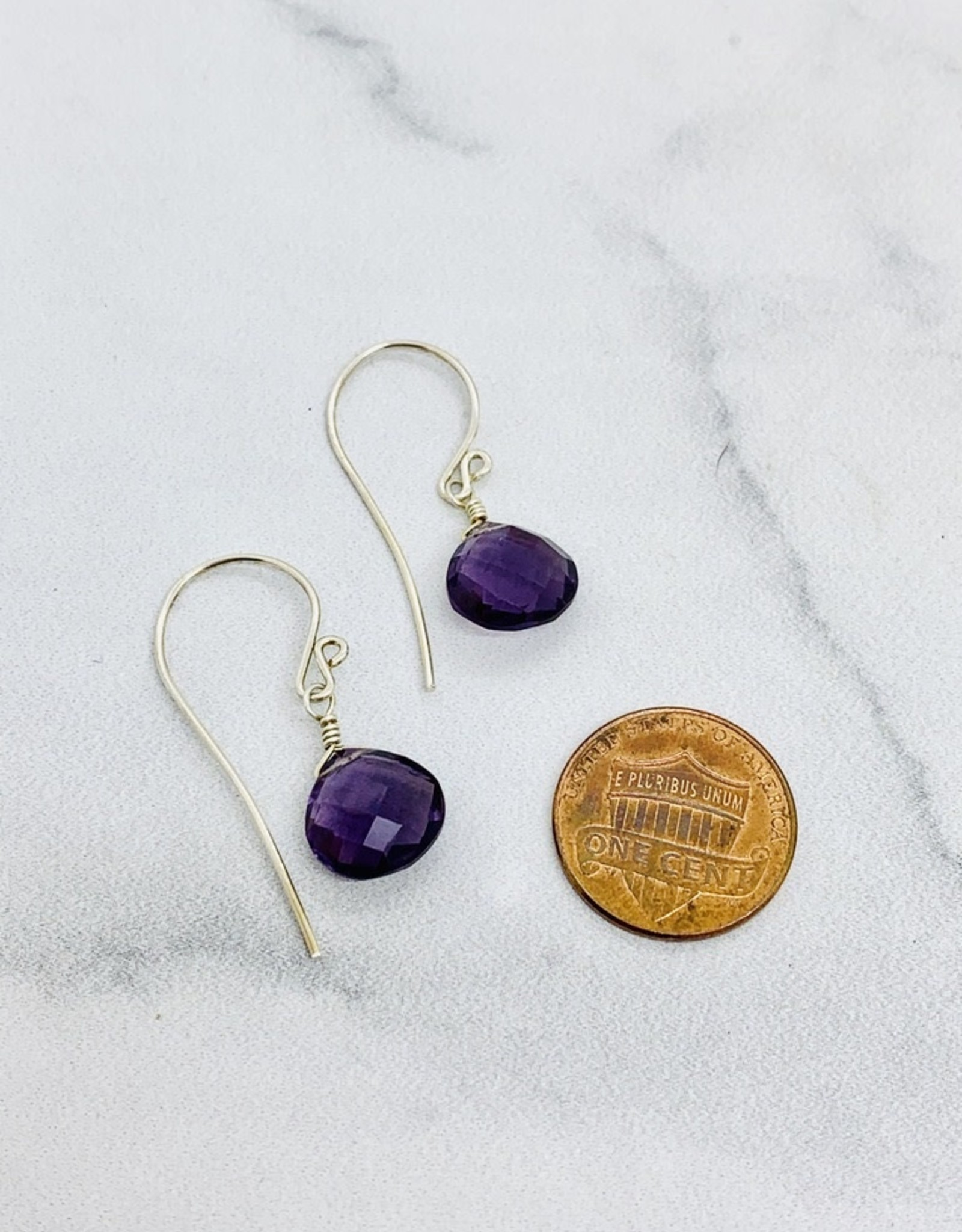 Locally Handmade Gemstone Drop Earrings Sterling Silver Amethyst
