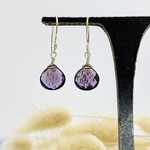 Locally Handmade Gemstone Drop Earrings Sterling Silver Amethyst