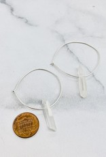 Handmade Small Silver Hoop Earrings with Quartz