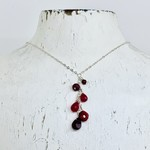 """Handmade Silver 18"""" Necklace with Cascade of Ruby Stones"""