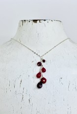 "Handmade Silver 18"" Necklace with Cascade of Ruby Stones"