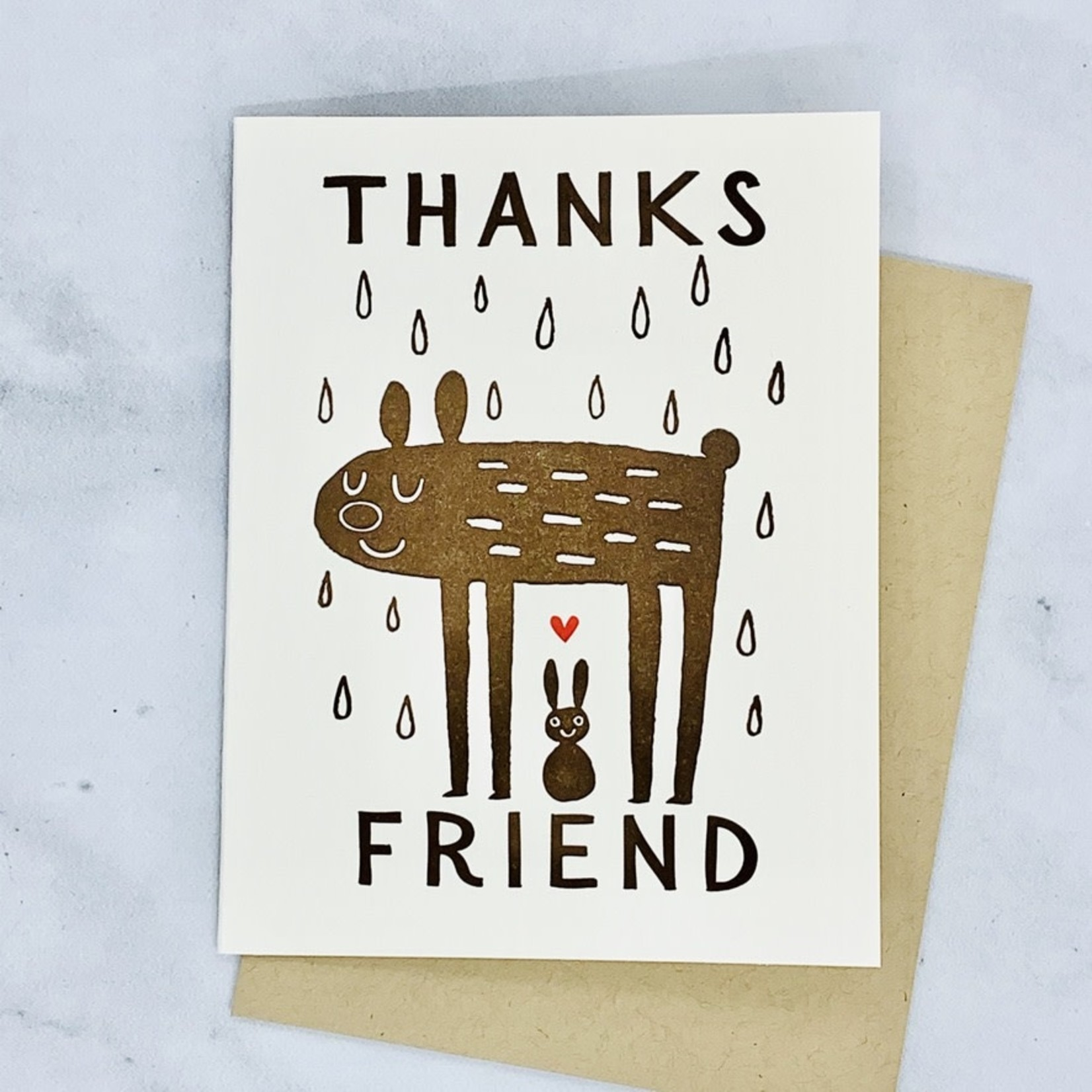 Thanks Friend Rain Bear Card