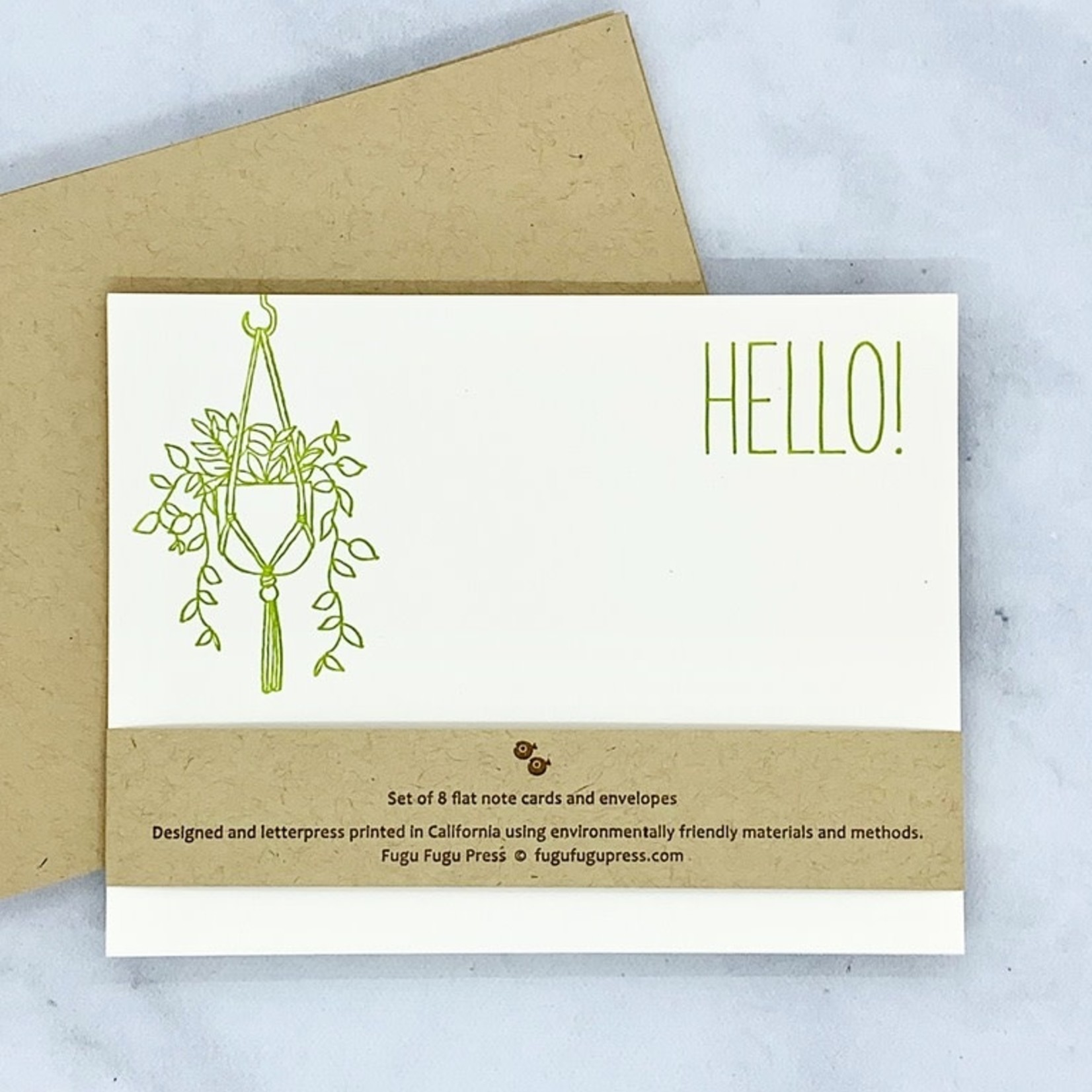 Hello Hanging Plant Flat Notecard Set of 8
