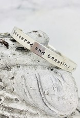 "Handmade Bracelet, silver cuff ""battered and beautiful aflame and unafraid"" Amanda Gorman"