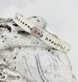 "Handmade Bracelet, silver cuff ""battered and beautiful aflame and unafraid"" Amanda Gorman"