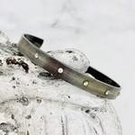 Handmade Bracelet, oxidized cuff, 5 clear cz