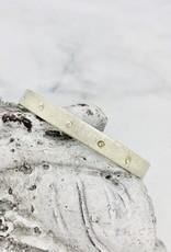 Handmade Bracelet, brushed cuff, 5 clear cz