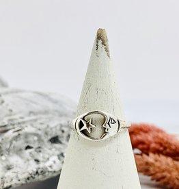 Silver Moon and Star Circle Ring