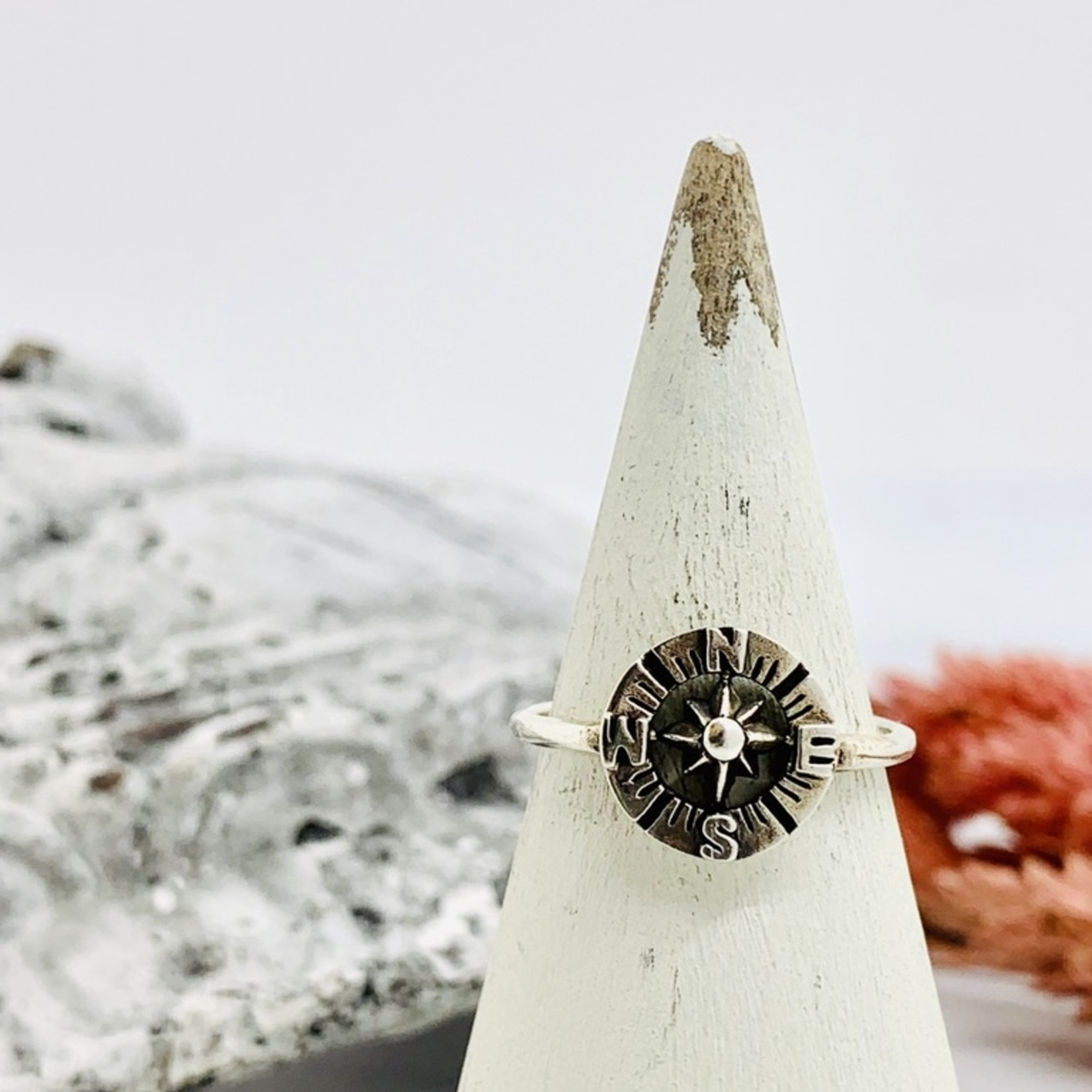 Sterling Silver Cutout Compass Ring
