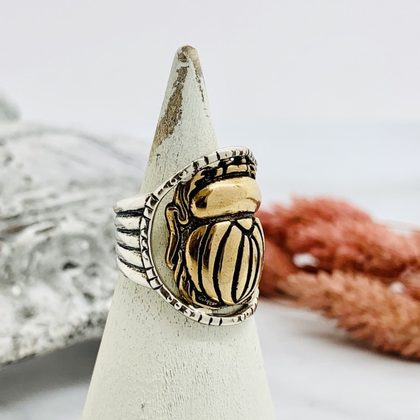 Scarab Ring, Silver and Bronze